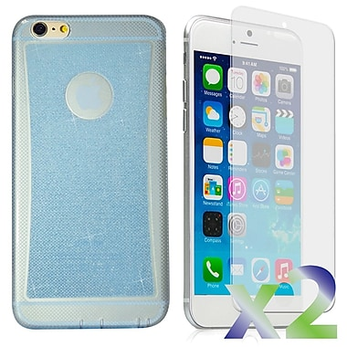 Exian – Étui pour iPhone 6, bleu scintillant transparent