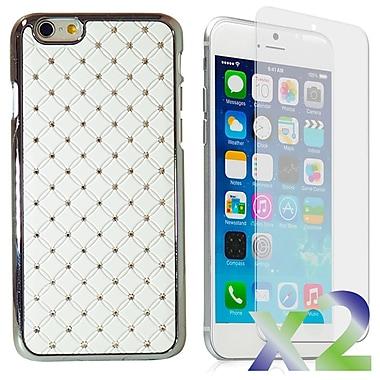 Exian – Étuis avec cristaux incrustés pour iPhone 6, blanc