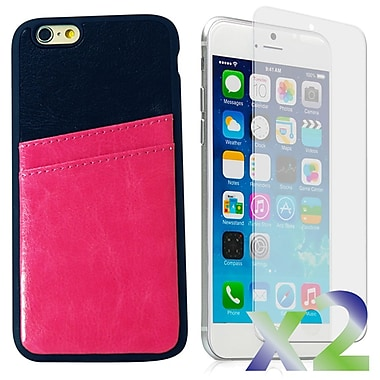 Exian Case for iPhone 6, Leather with Card Slot Pink