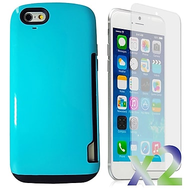 Exian Case for iPhone 6, Armored with Card Slot Blue