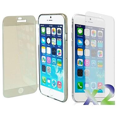 Exian – Étui avec rabat avant pour iPhone 6, transparent avec avant gris