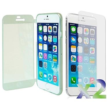 Exian – Étui avec rabat avant pour iPhone 6, transparent avec avant vert
