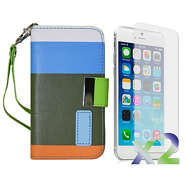 Exian Case for iPhone 6, Leather Wallet Blue Orange Green