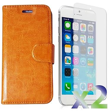 Exian – Étui portefeuille en cuir pour iPhone 6, beige