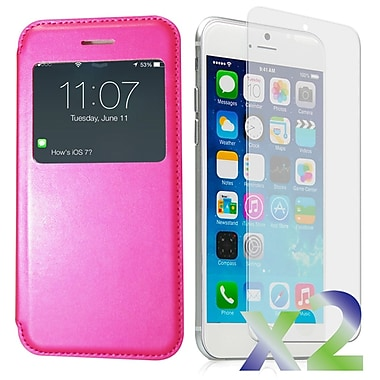 Exian Case for iPhone 6, Flip with Call Access Window Hot Pink