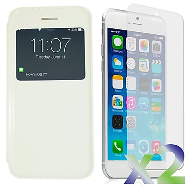 Exian Case for iPhone 6, Flip with Call Access Window White