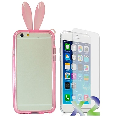 Exian Case for iPhone 6 Plus, Bunny Ears Pink