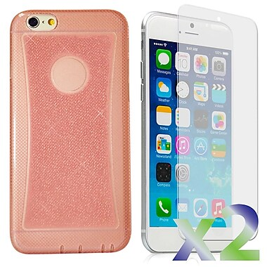 Exian Case for iPhone 6 Plus, Transparent Sparkling Pink