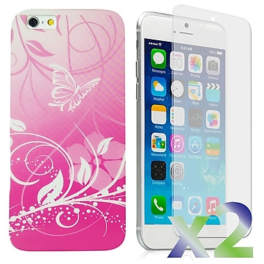 Exian Case for iPhone 6 Plus, Butterflies & Flower Pink