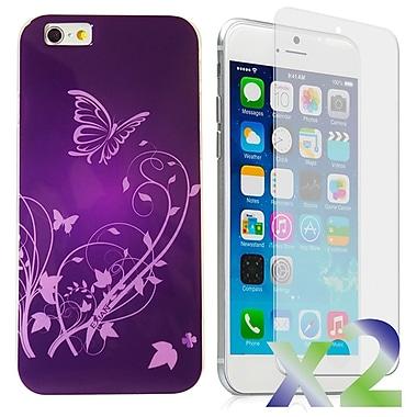 Exian Case for iPhone 6 Plus, Butterflies & Flower Purple