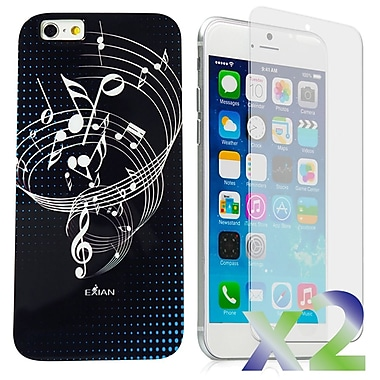 Exian Case for iPhone 6 Plus, Musical Notes Black