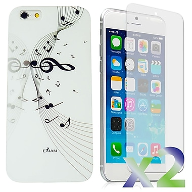 Exian Case for iPhone 6 Plus, Musical Notes White
