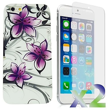Exian Case for iPhone 6 Plus, Floral Pattern White & Purple