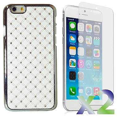 Exian Case for iPhone 6 Plus, Embedded Crystals White