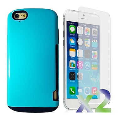 Exian Case for iPhone 6 Plus, Armored with Card Slots Blue