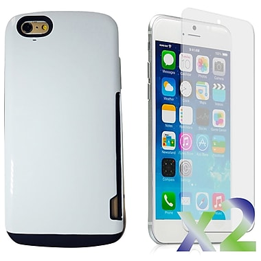 Exian Case for iPhone 6 Plus, Armored with Card Slots White