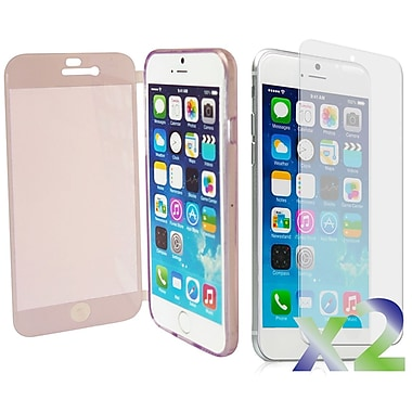 Exian Case for iPhone 6 Plus, Transparent with Front Cover Purple