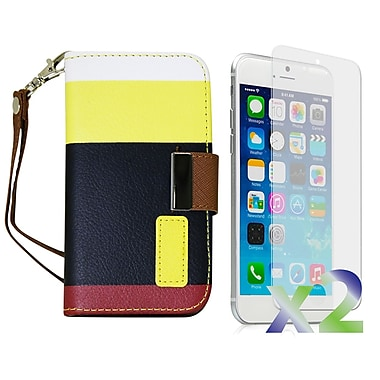Exian Case for iPhone 6 Plus, Leather Wallet Yellow Black Red