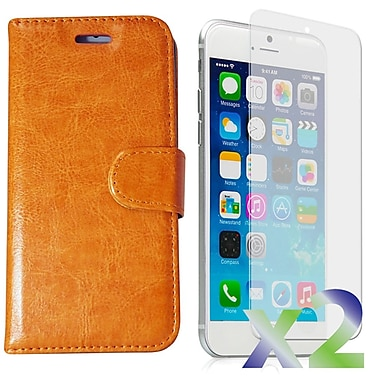 Exian Case for iPhone 6 Plus, Leather Wallet Beige