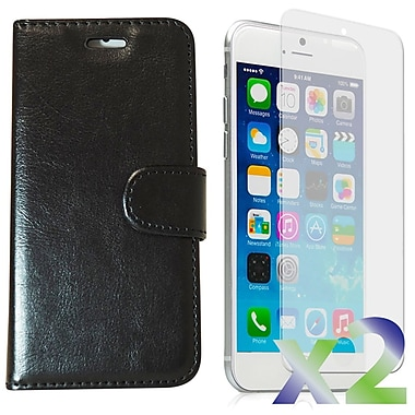 Exian Case for iPhone 6 Plus, Leather Wallet Black