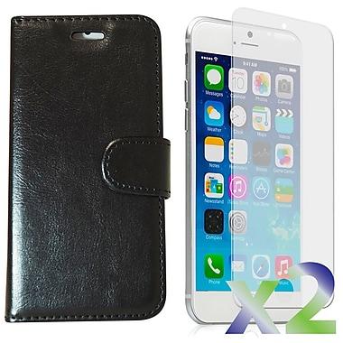 Exian – Étui pour iPhone 6 Plus, portefeuille en cuir noir