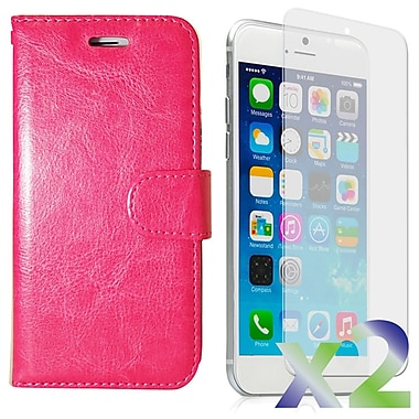 Exian Case for iPhone 6 Plus, Leather Wallet Pink