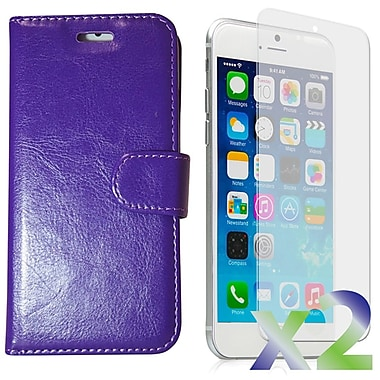 Exian Case for iPhone 6 Plus, Leather Wallet Purple