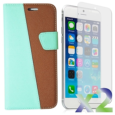 Exian Case for iPhone 6 Plus, Leather Wallet Green & Brown