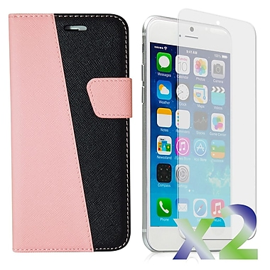 Exian Case for iPhone 6 Plus, Leather Wallet Black & Pink