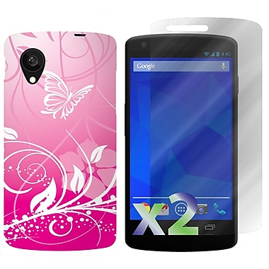 Exian Case for Nexus 5, Butterflies & Flowers Pink