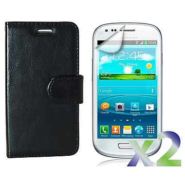 Exian Case for Galaxy S3 Mini, Leather Wallet Black