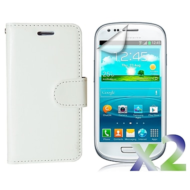 Exian Case for Galaxy S3 Mini, Leather Wallet White