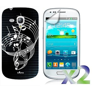 Exian – Étui noir à motif de notes musique pour Galaxy S3 Mini