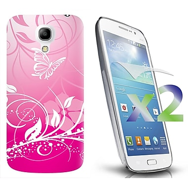 Exian Case for Galaxy S4 Mini, Butterflies & Flowers Pink