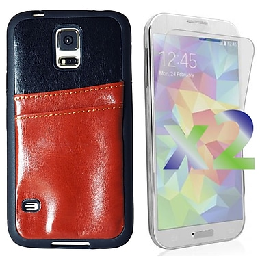 Exian Case for Galaxy S5, Leather with Card Slot Brown