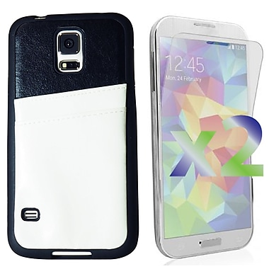 Exian Case for Galaxy S5, Leather with Card Slot White
