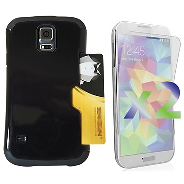 Exian Case for Galaxy S5, Armored with Card Slot Black