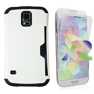 Exian Case for Galaxy S5, Armored with Card Slot White