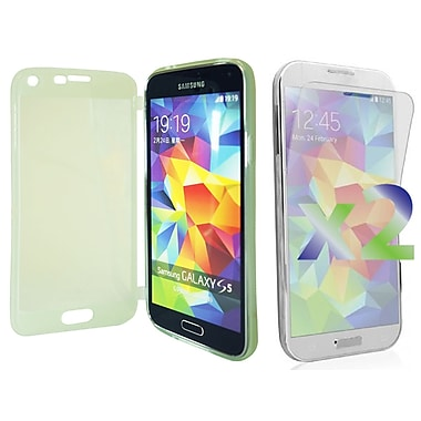 Exian Case for Galaxy S5, Transparent with Front Green