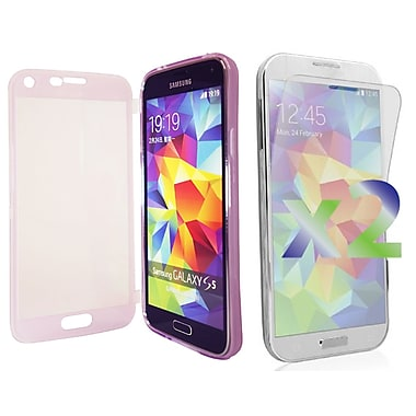 Exian Case for Galaxy S5, Transparent with Front Purple
