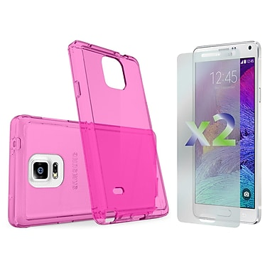 Exian – Étui rose transparent pour Galaxy Note 4