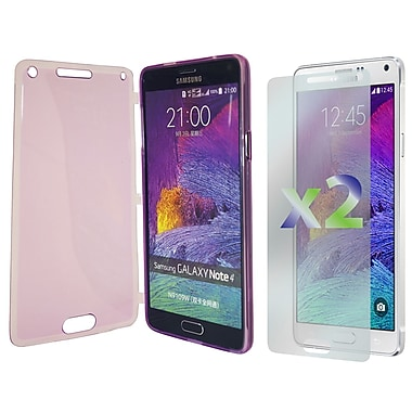 Exian Case for Galaxy Note 4, Transparent with Front Cover Purple