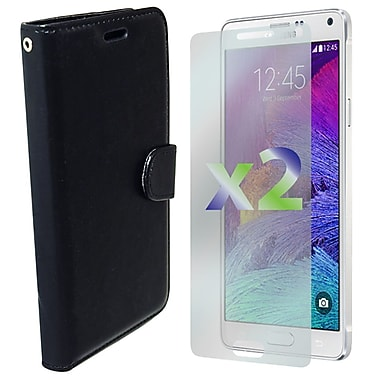 Exian Case for Galaxy Note 4, Leather Wallet Black