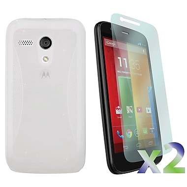Exian Motorola Moto G 2Screen Guard Protectors & TPU Sparkling, Transparent Clear