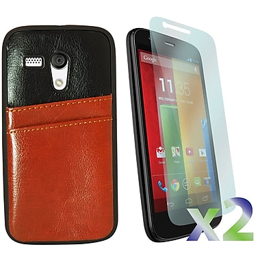 Exian Case for Moto G, Leather with Card Slot Brown