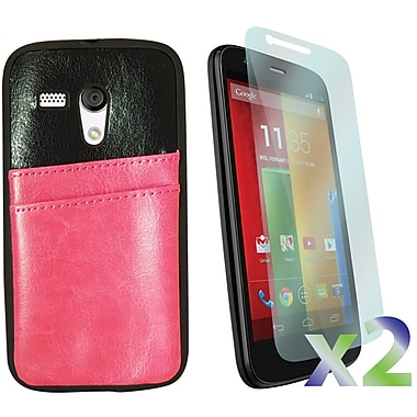 Exian Case for Moto G, Leather with Card Slot Pink