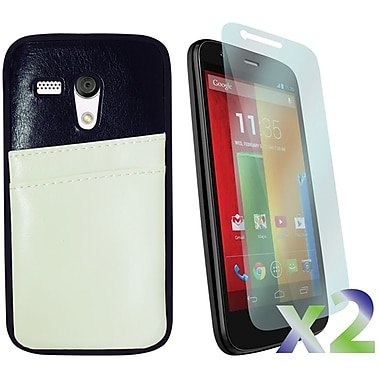 Exian Case for Moto G, Leather with Card Slot White