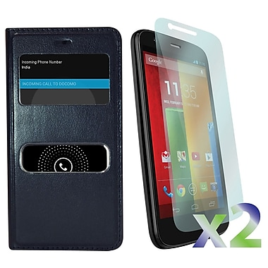 Exian Cases for Moto G, Flip with Call Access Window
