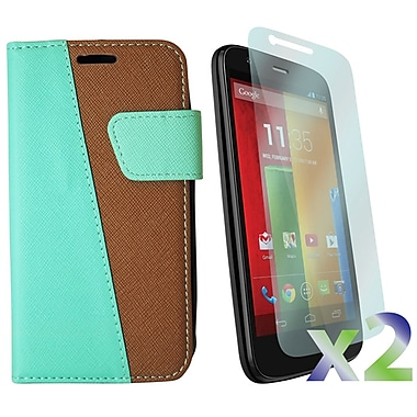 Exian Motorola Moto G2 Screen Guard Protectors & MultiColour Wallet Case, Green Brown