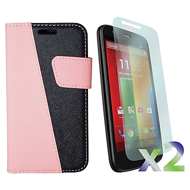 Exian Motorola Moto G2 Screen Guard Protectors & MultiColour Wallet Case, Pink Black